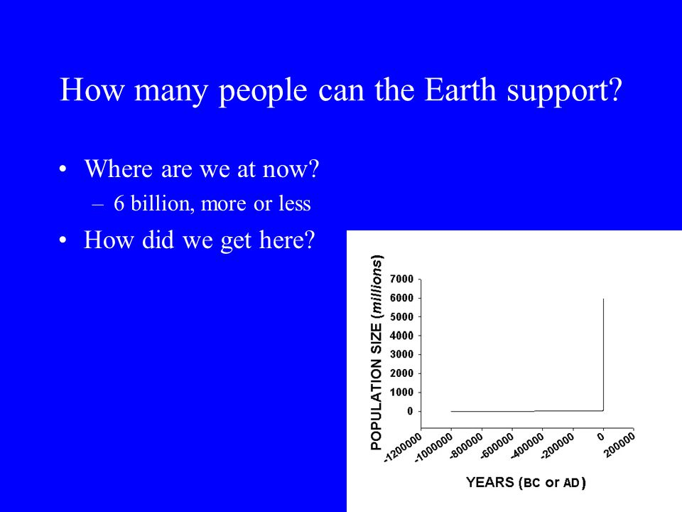 How many people can the Earth support? Where are we at now? –6 billion, more or less How did we get here?