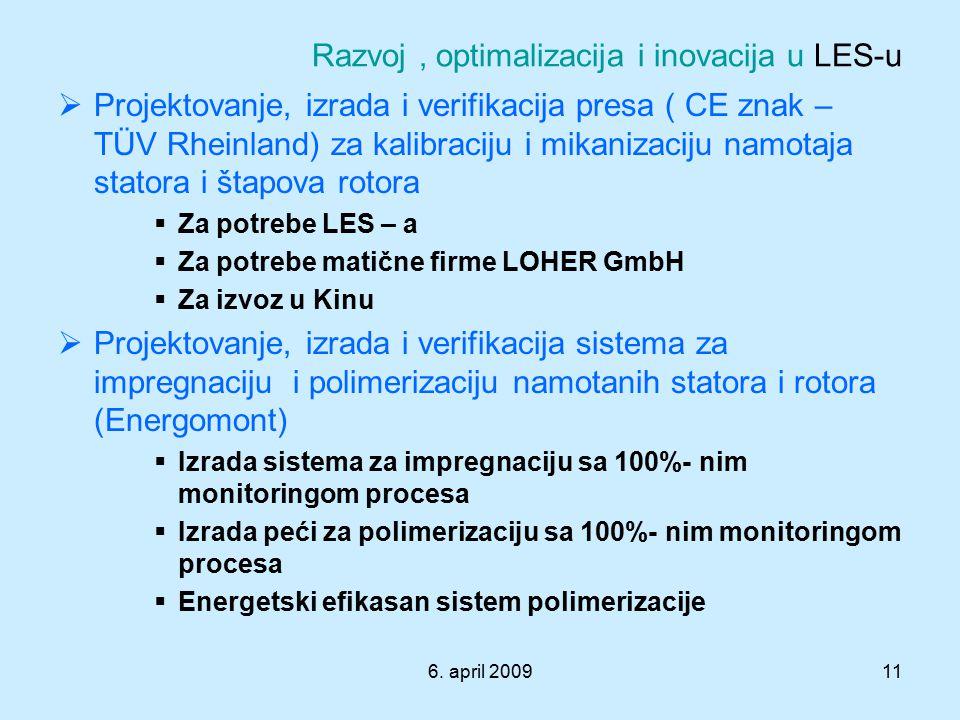 6. april 200911 Razvoj, optimalizacija i inovacija u LES-u  Projektovanje, izrada i verifikacija presa ( CE znak – TÜV Rheinland) za kalibraciju i mi