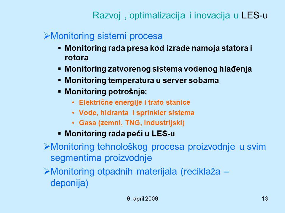 6. april 200913  Monitoring sistemi procesa  Monitoring rada presa kod izrade namoja statora i rotora  Monitoring zatvorenog sistema vodenog hlađen