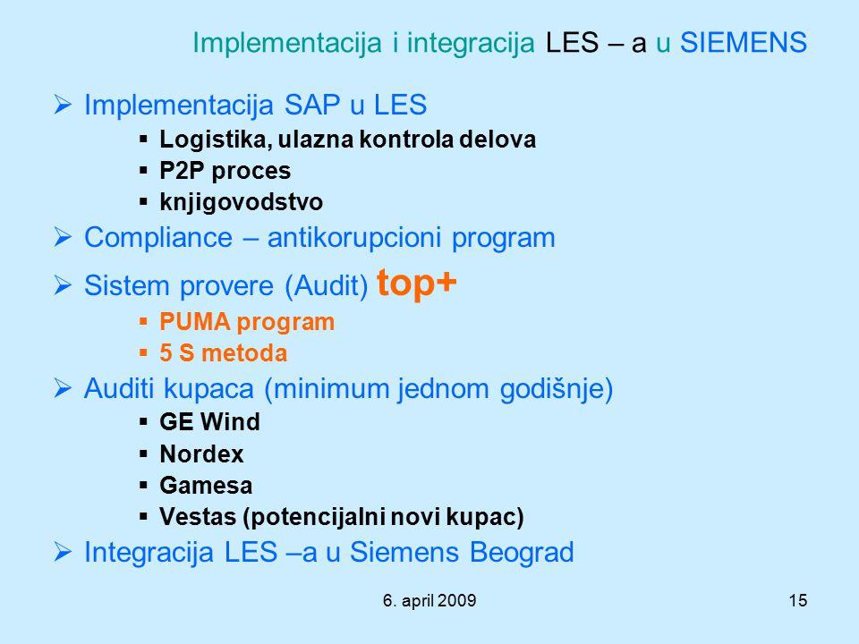 6. april 200915 Implementacija i integracija LES – a u SIEMENS  Implementacija SAP u LES  Logistika, ulazna kontrola delova  P2P proces  knjigovod