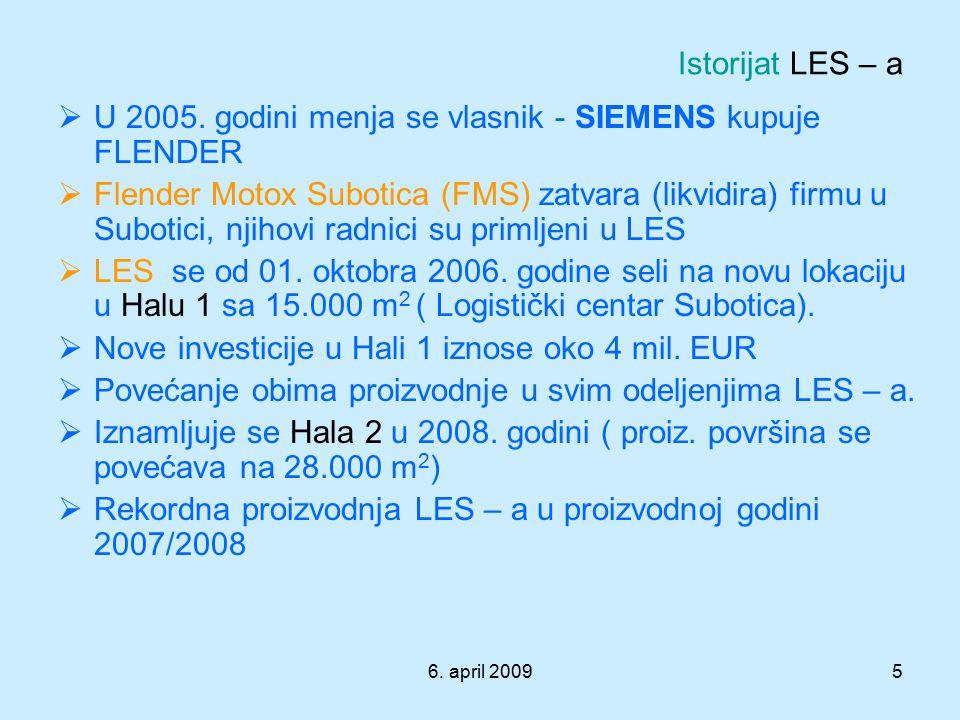 6. april 20095  U 2005. godini menja se vlasnik - SIEMENS kupuje FLENDER  Flender Motox Subotica (FMS) zatvara (likvidira) firmu u Subotici, njihovi