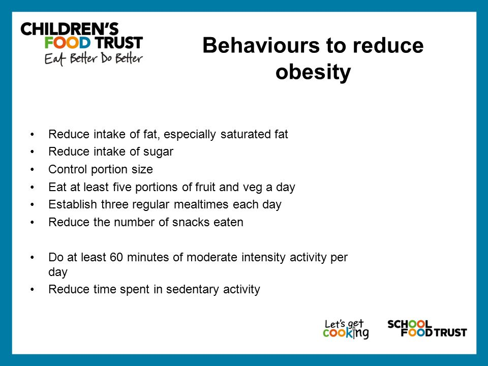 Behaviours to reduce obesity Reduce intake of fat, especially saturated fat Reduce intake of sugar Control portion size Eat at least five portions of fruit and veg a day Establish three regular mealtimes each day Reduce the number of snacks eaten Do at least 60 minutes of moderate intensity activity per day Reduce time spent in sedentary activity
