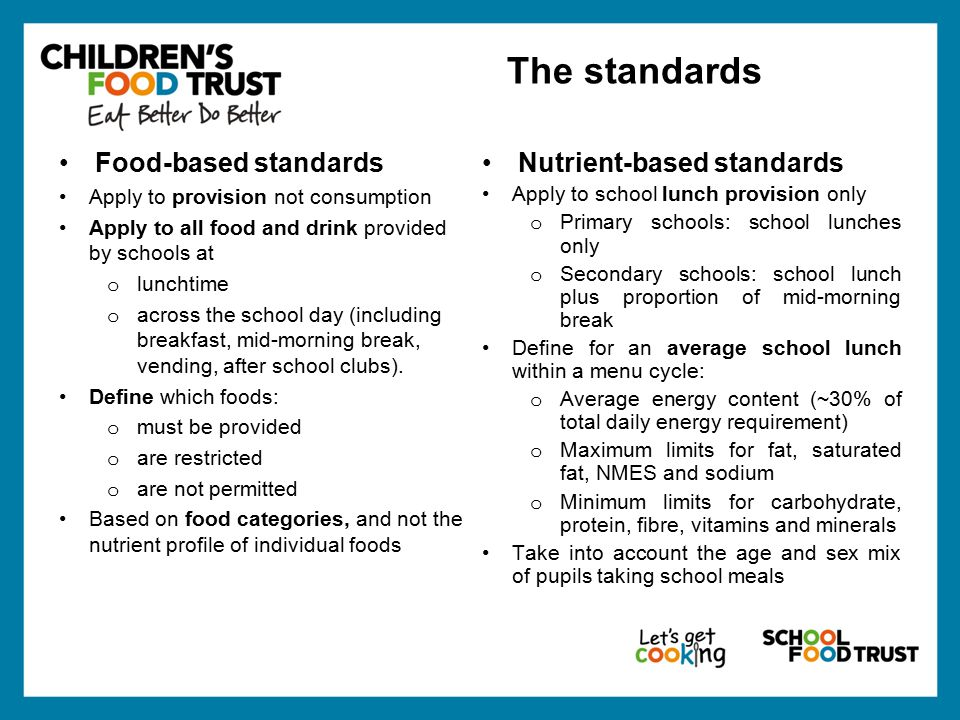 Food-based standards Apply to provision not consumption Apply to all food and drink provided by schools at o lunchtime o across the school day (including breakfast, mid-morning break, vending, after school clubs).