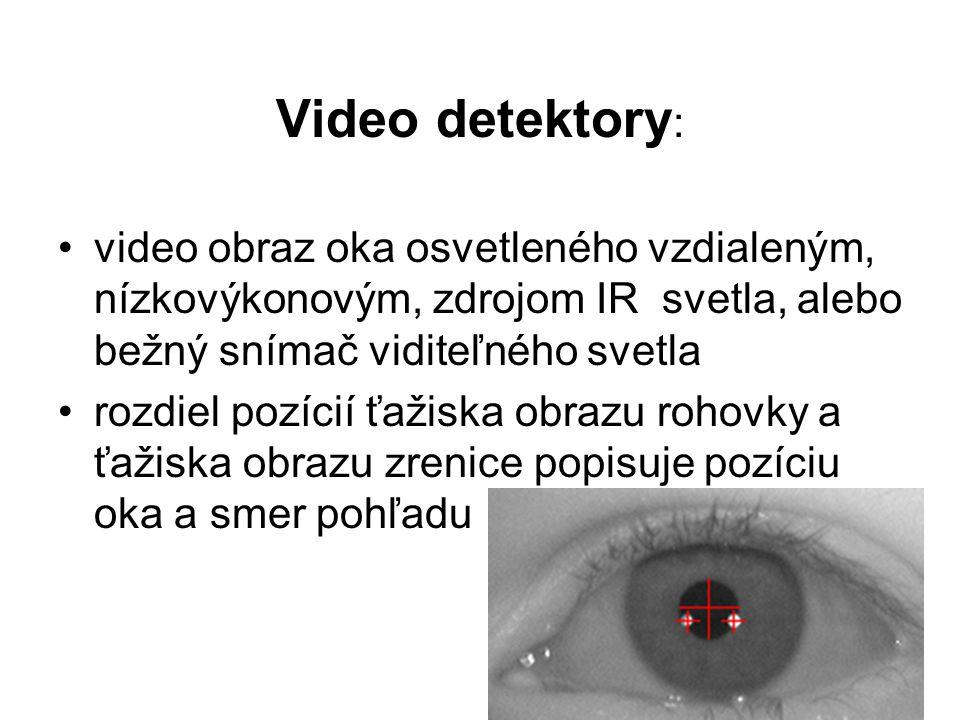 Video detektory : video obraz oka osvetleného vzdialeným, nízkovýkonovým, zdrojom IR svetla, alebo bežný snímač viditeľného svetla rozdiel pozícií ťažiska obrazu rohovky a ťažiska obrazu zrenice popisuje pozíciu oka a smer pohľadu