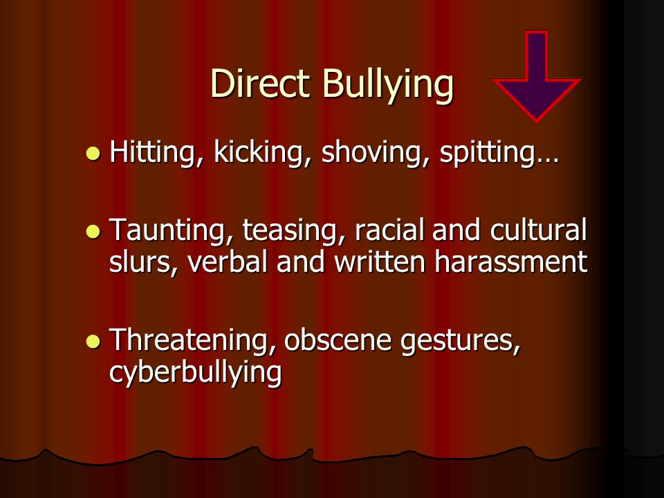 Direct Bullying Hitting, kicking, shoving, spitting… Hitting, kicking, shoving, spitting… Taunting, teasing, racial and cultural slurs, verbal and written harassment Taunting, teasing, racial and cultural slurs, verbal and written harassment Threatening, obscene gestures, cyberbullying Threatening, obscene gestures, cyberbullying