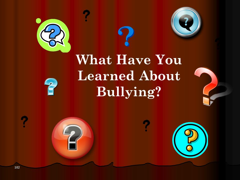 What Have You Learned About Bullying 102