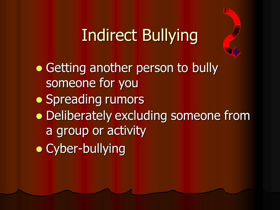 Indirect Bullying Getting another person to bully someone for you Getting another person to bully someone for you Spreading rumors Spreading rumors Deliberately excluding someone from a group or activity Deliberately excluding someone from a group or activity Cyber-bullying Cyber-bullying