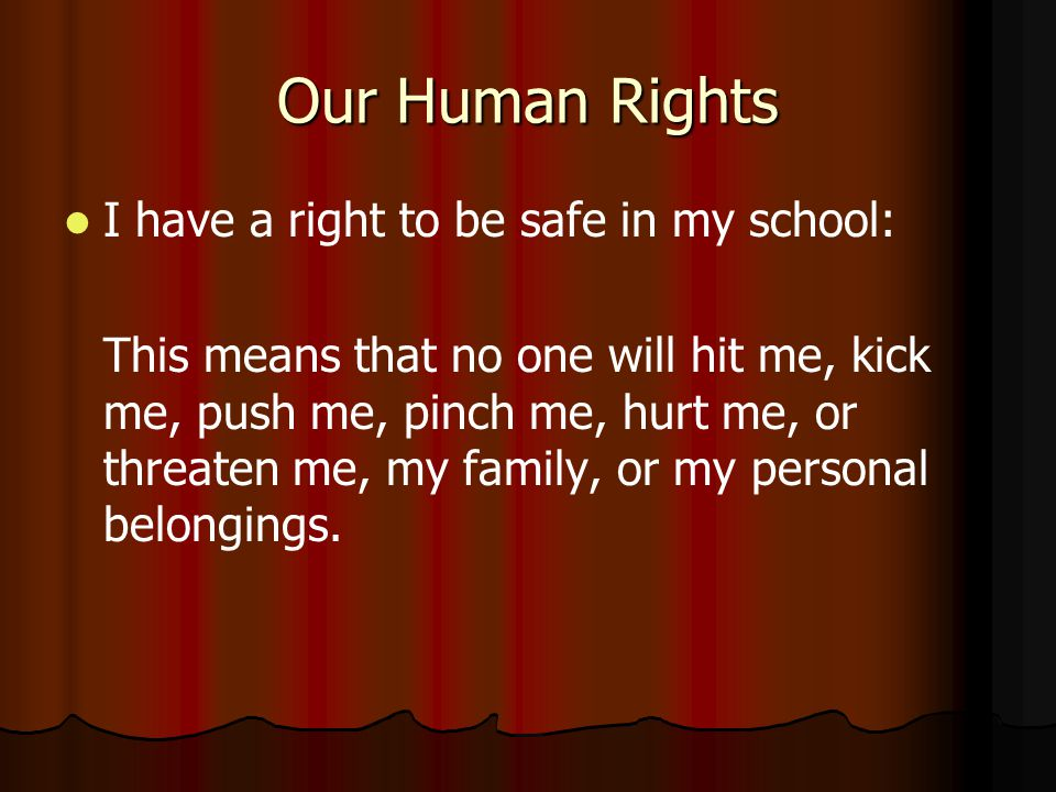 Our Human Rights I have a right to be safe in my school: This means that no one will hit me, kick me, push me, pinch me, hurt me, or threaten me, my family, or my personal belongings.