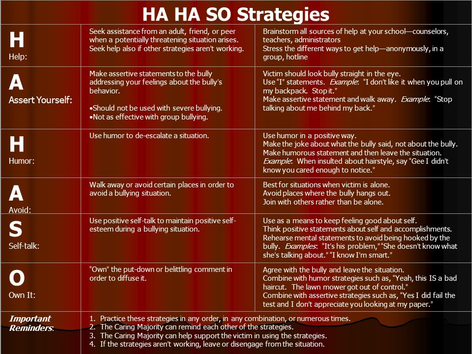 HA HA SO Strategies H Help: Seek assistance from an adult, friend, or peer when a potentially threatening situation arises.
