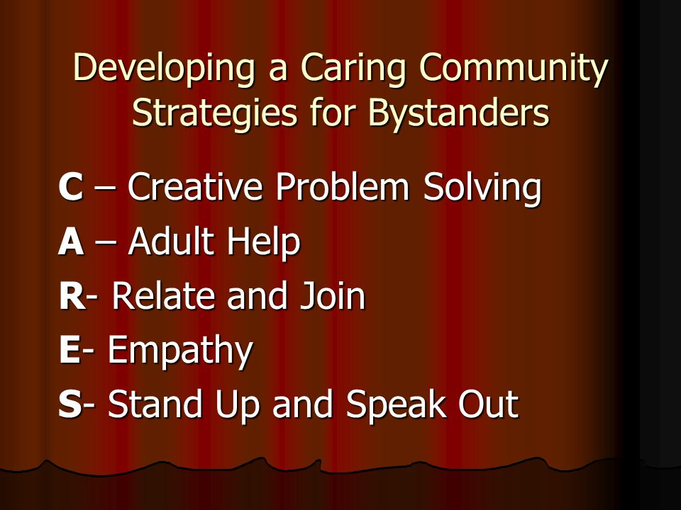 Developing a Caring Community Strategies for Bystanders C – Creative Problem Solving A – Adult Help R- Relate and Join E- Empathy S- Stand Up and Spea