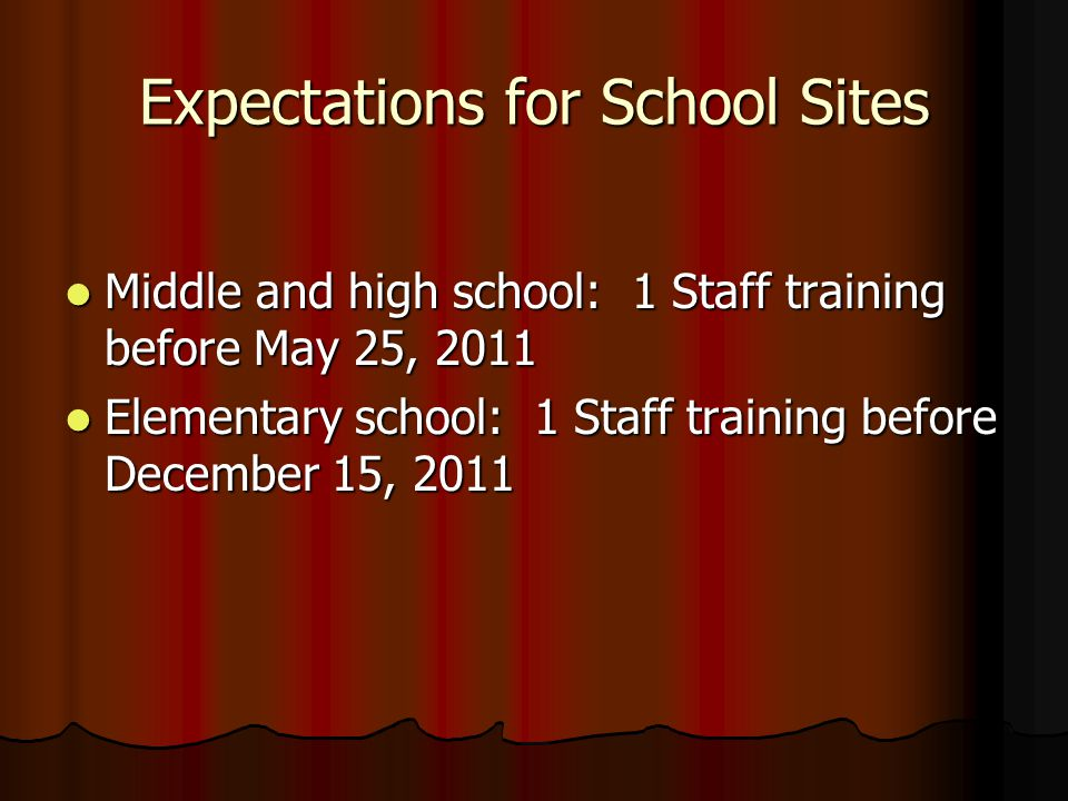 Expectations for School Sites Middle and high school: 1 Staff training before May 25, 2011 Middle and high school: 1 Staff training before May 25, 201