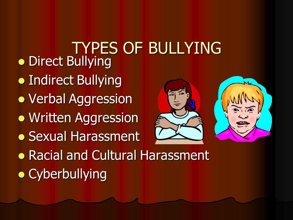 TYPES OF BULLYING Direct Bullying Direct Bullying Indirect Bullying Indirect Bullying Verbal Aggression Verbal Aggression Written Aggression Written Aggression Sexual Harassment Sexual Harassment Racial and Cultural Harassment Racial and Cultural Harassment Cyberbullying Cyberbullying