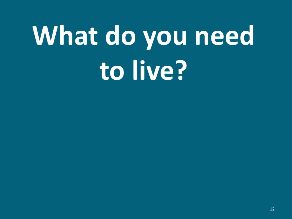 What do you need to live? 12