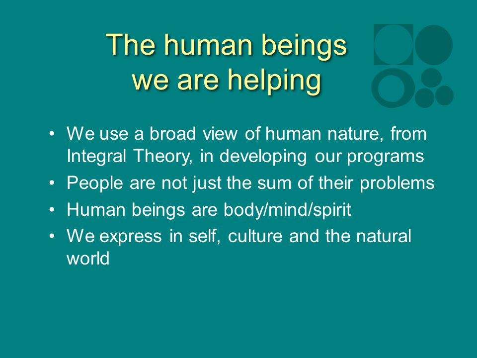 The human beings we are helping We use a broad view of human nature, from Integral Theory, in developing our programs People are not just the sum of their problems Human beings are body/mind/spirit We express in self, culture and the natural world