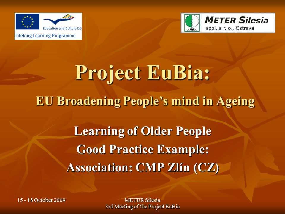 15 - 18 October 2009METER Silesia 3rd Meeting of the Project EuBia CMP = Association of People after Vascular Cerebral Occurrence CMP = Association of People after Vascular Cerebral Occurrence Several Clubs in the Czech Republic – seminars and rehabilitations for older people with the disease Several Clubs in the Czech Republic – seminars and rehabilitations for older people with the disease About CMP Association
