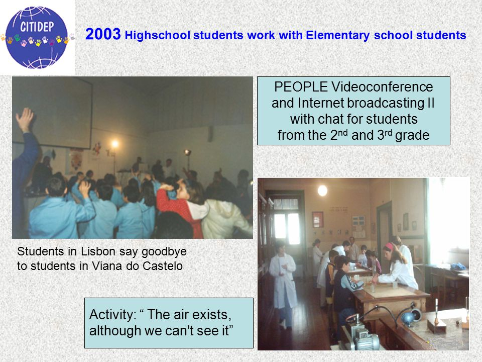 2003 Highschool students work with Elementary school students Activity: The air exists, although we can t see it PEOPLE Videoconference and Internet broadcasting II with chat for students from the 2 nd and 3 rd grade Students in Lisbon say goodbye to students in Viana do Castelo
