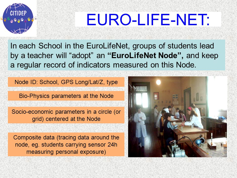 In each School in the EuroLifeNet, groups of students lead by a teacher will adopt an EuroLifeNet Node , and keep a regular record of indicators measured on this Node.