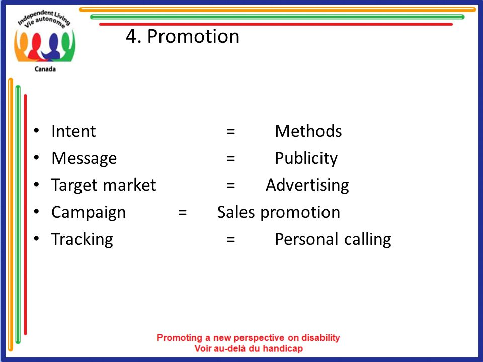 4. Promotion Intent= Methods Message= Publicity Target market= Advertising Campaign= Sales promotion Tracking=Personal calling