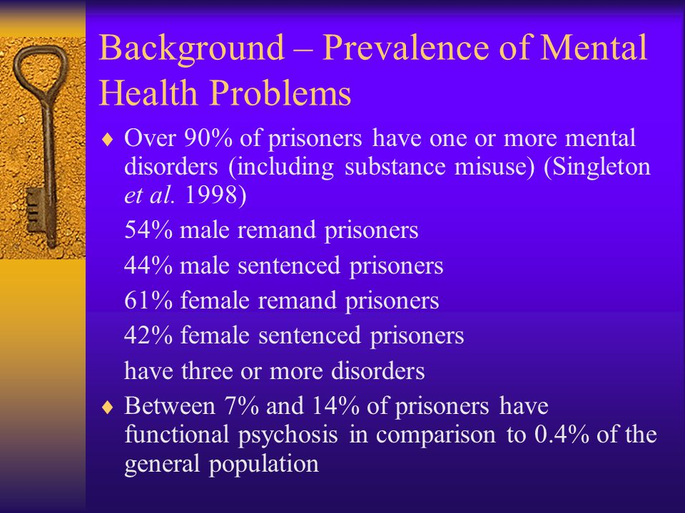 Background – Prevalence of Mental Health Problems  Over 90% of prisoners have one or more mental disorders (including substance misuse) (Singleton et al.