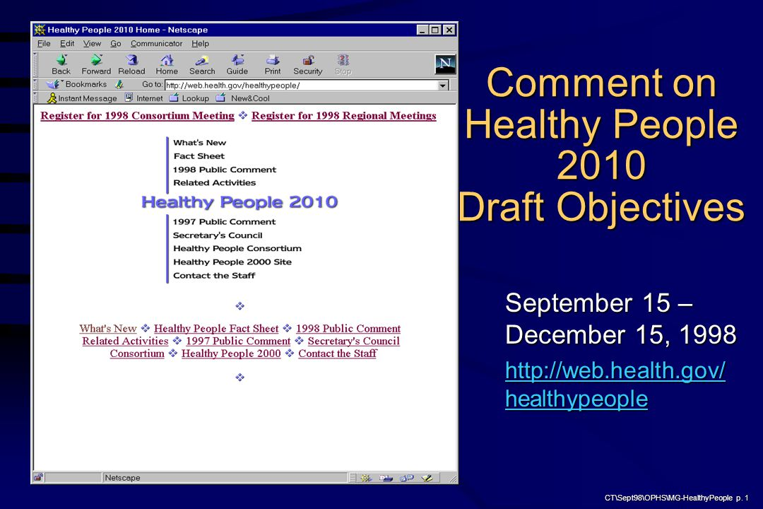 CT\Sept98\OPHS\MG-HealthyPeople p. 1 Comment on Healthy People 2010 Draft Objectives September 15 – December 15, 1998 http://web.health.gov/ healthype