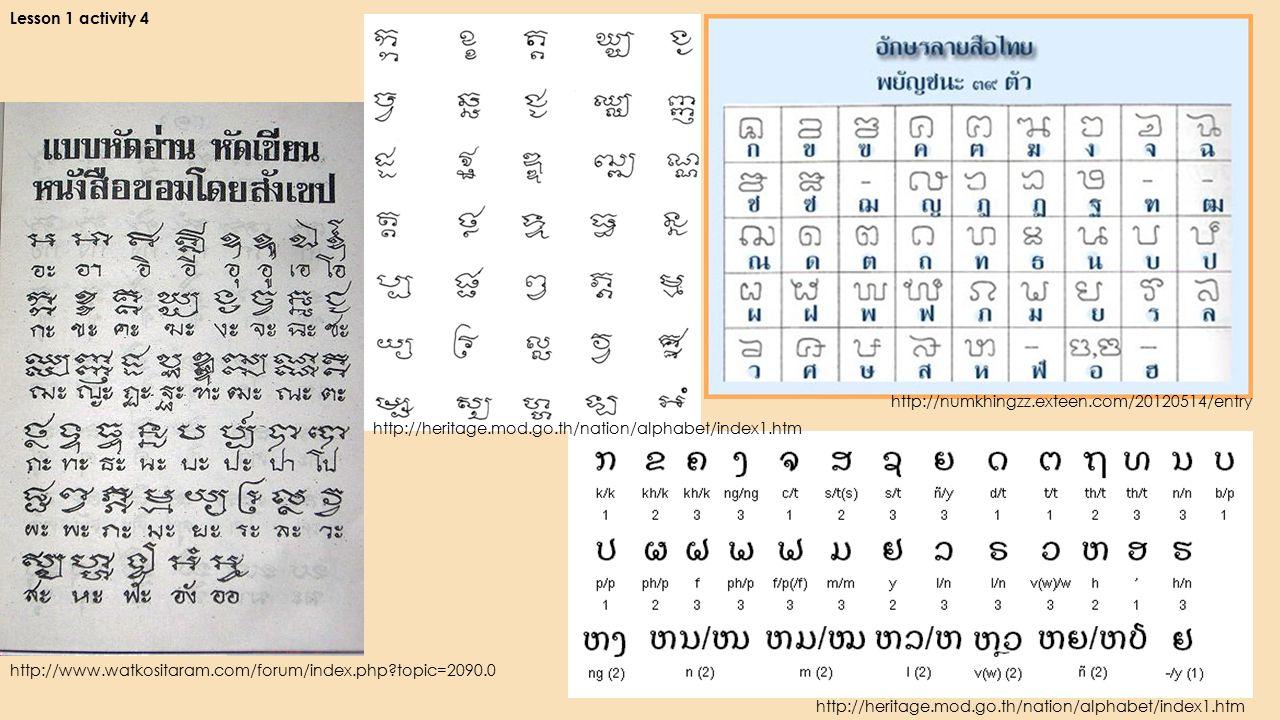 Lesson 1 activity 4 http://www.watkositaram.com/forum/index.php topic=2090.0 http://numkhingzz.exteen.com/20120514/entry http://heritage.mod.go.th/nation/alphabet/index1.htm