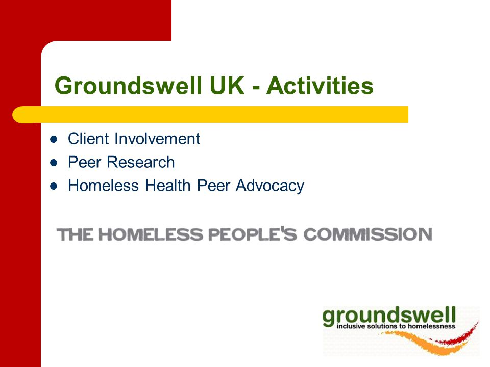 Aim of the To enable people with experience of homelessness to play a role in the development and evaluation of policies and services To consider the effectiveness of policies and services