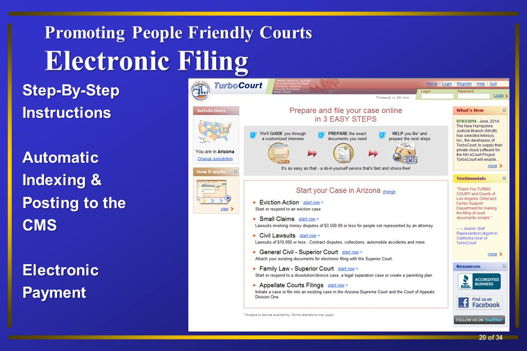 Promoting People Friendly Courts Electronic Filing Step-By-StepInstructionsAutomatic Indexing & Posting to the CMSElectronicPayment 13 of 34 20 of 34