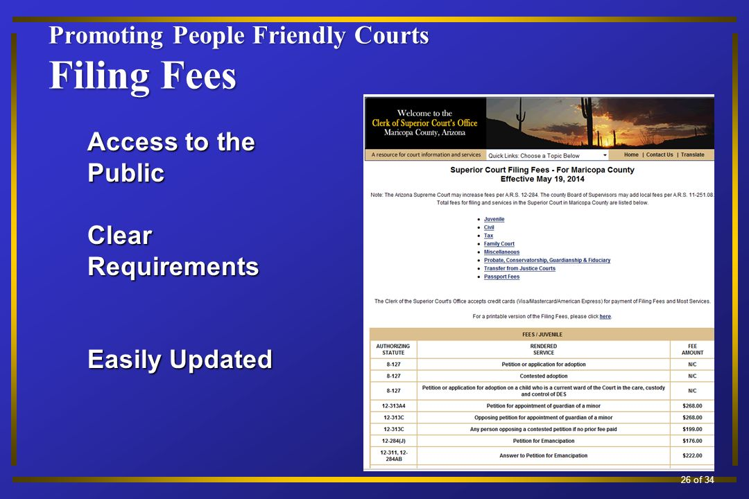 Promoting People Friendly Courts Filing Fees 13 of 34 Access to the Public Clear Requirements Easily Updated 26 of 34