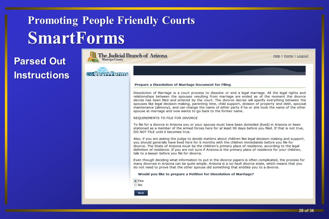 Promoting People Friendly Courts SmartForms Parsed Out Instructions 19 of 34 28 of 34