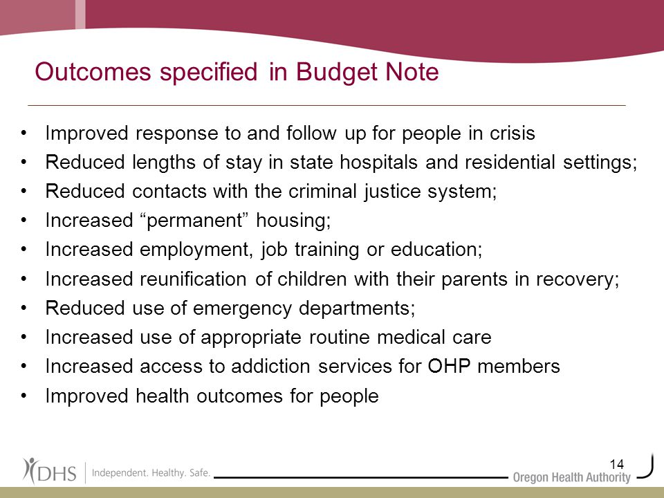 14 Outcomes specified in Budget Note Improved response to and follow up for people in crisis Reduced lengths of stay in state hospitals and residentia