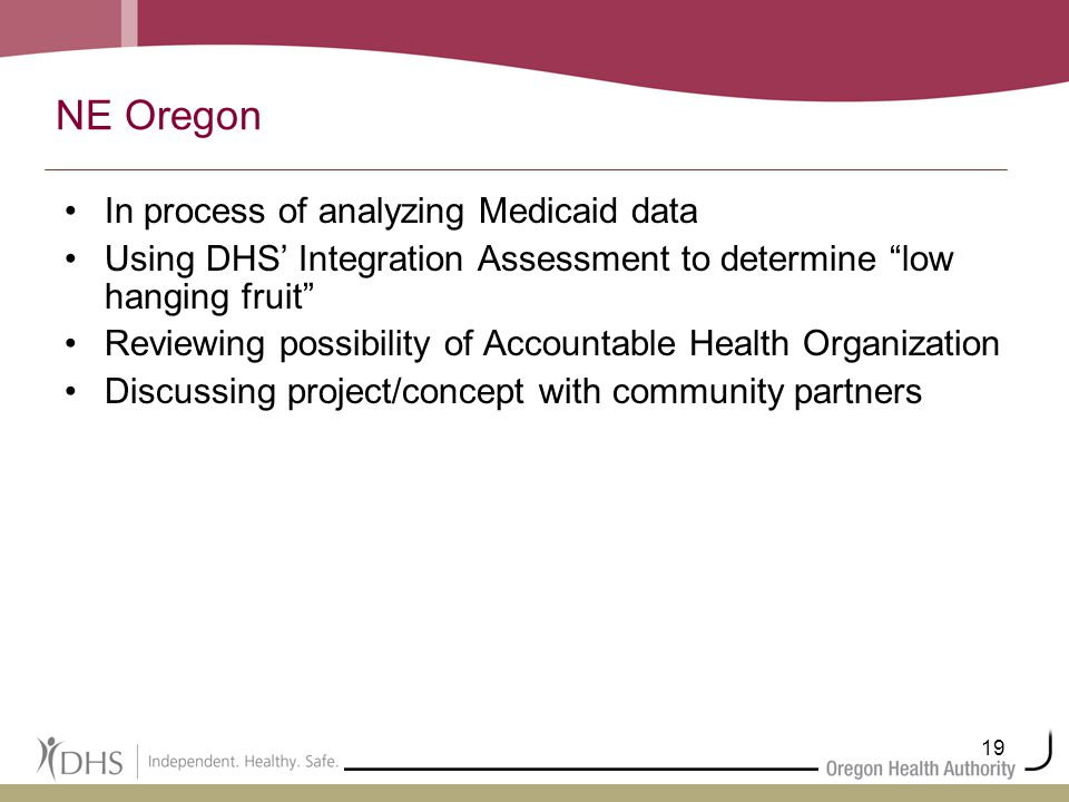19 NE Oregon In process of analyzing Medicaid data Using DHS' Integration Assessment to determine low hanging fruit Reviewing possibility of Accountable Health Organization Discussing project/concept with community partners