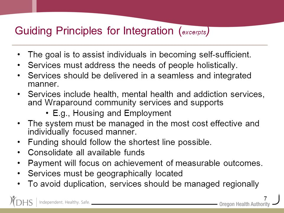 7 Guiding Principles for Integration ( excerpts ) The goal is to assist individuals in becoming self-sufficient. Services must address the needs of pe