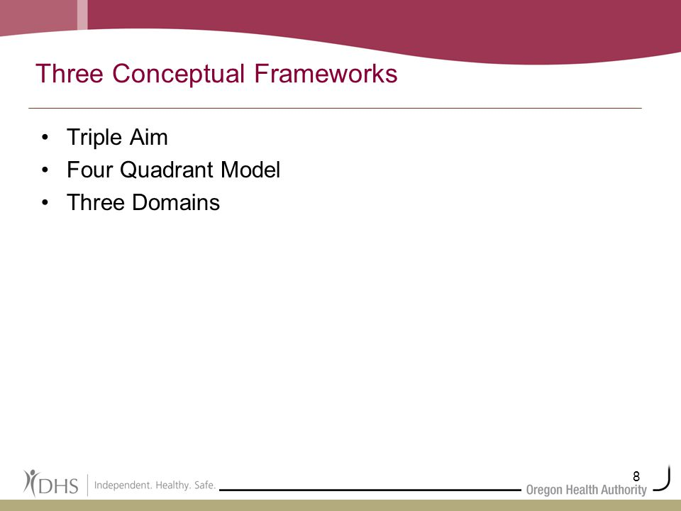 8 Three Conceptual Frameworks Triple Aim Four Quadrant Model Three Domains