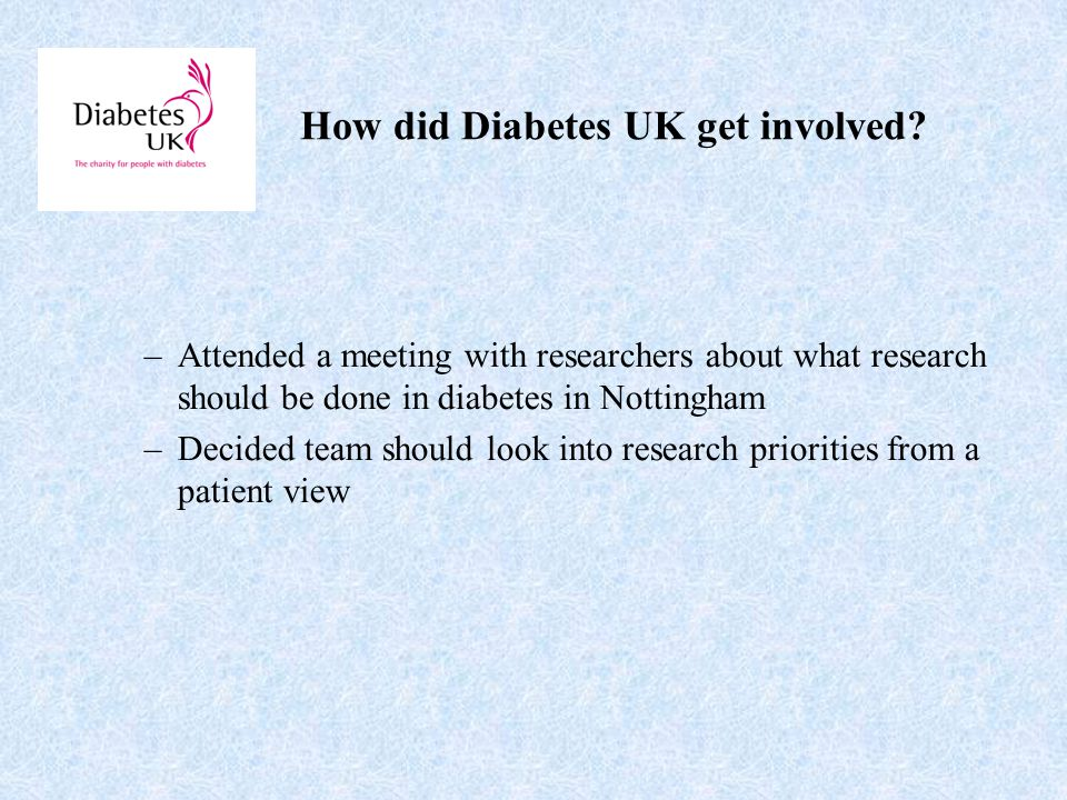 How did Diabetes UK get involved.