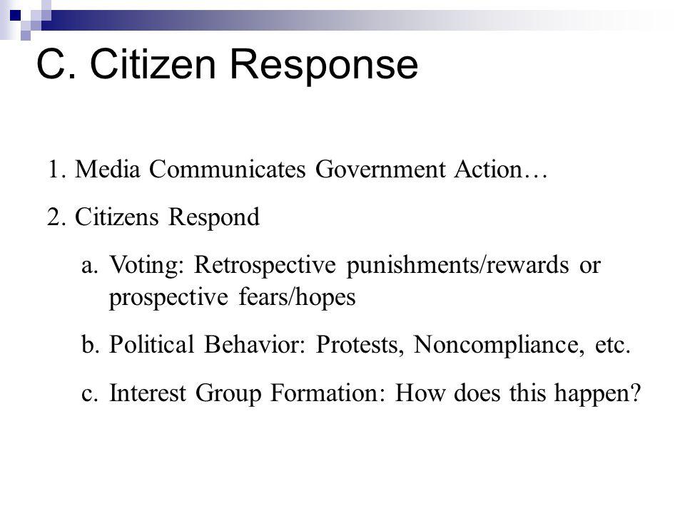 C. Citizen Response 1.Media Communicates Government Action… 2.Citizens Respond a.Voting: Retrospective punishments/rewards or prospective fears/hopes