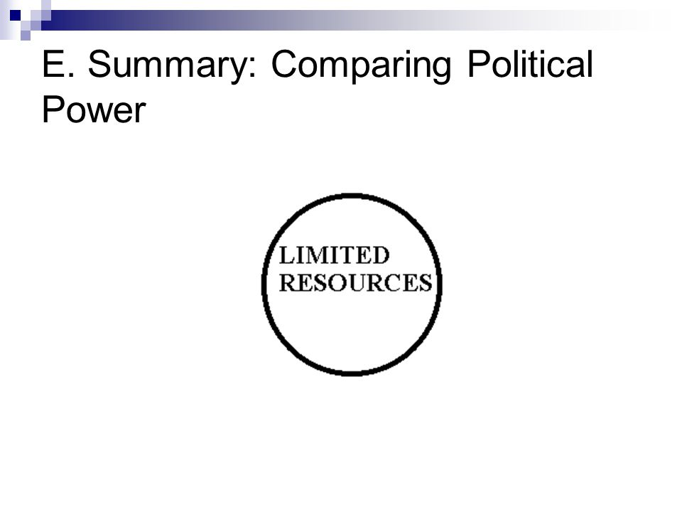 E. Summary: Comparing Political Power