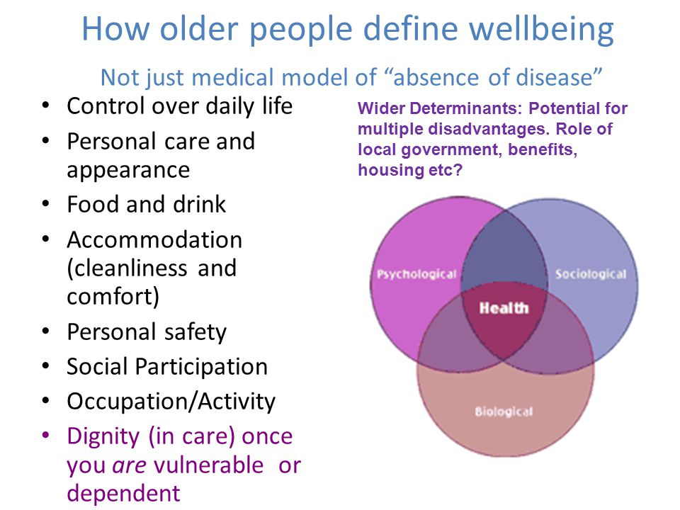 "How older people define wellbeing Not just medical model of ""absence of disease"" Control over daily life Personal care and appearance Food and drink A"