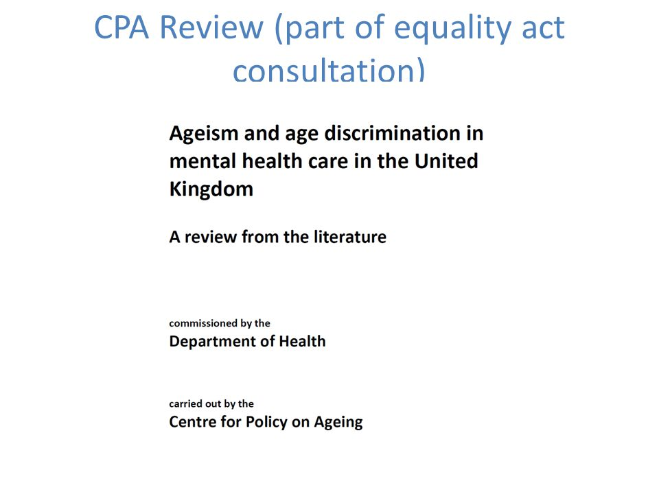CPA Review (part of equality act consultation)
