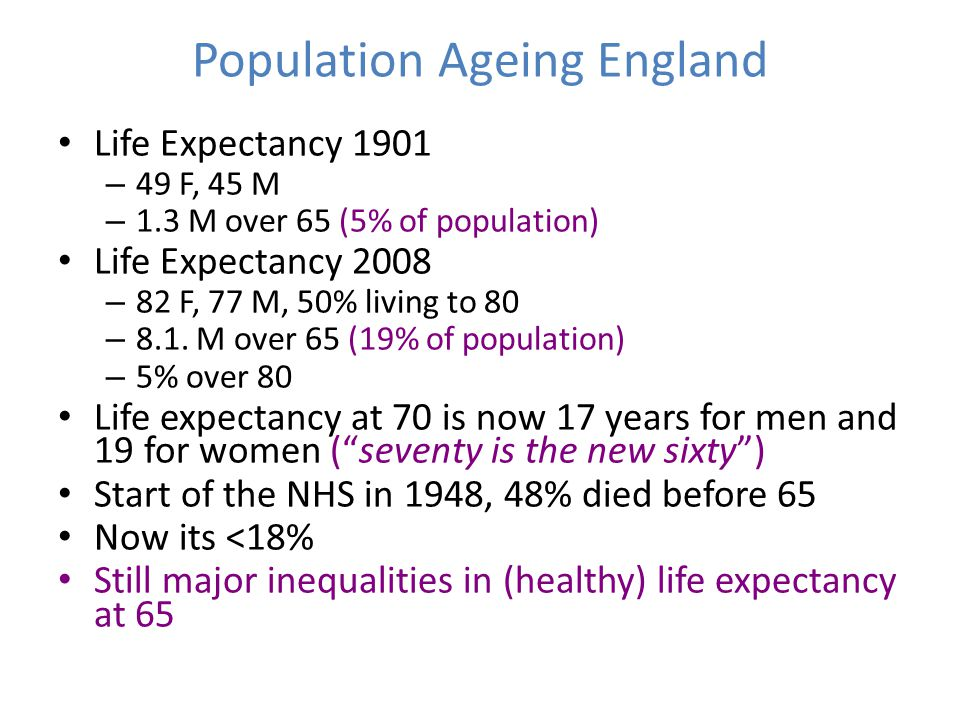 Population Ageing England Life Expectancy 1901 – 49 F, 45 M – 1.3 M over 65 (5% of population) Life Expectancy 2008 – 82 F, 77 M, 50% living to 80 – 8