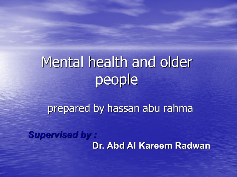 Psychosocial intervention 1-enviromental modification aroma, music, reduce noisy, exercise 2-oriantation places time person 3-reminiscence therapy {talked about past } carer support 1-professional and organization practice 2-communty mental health old age services