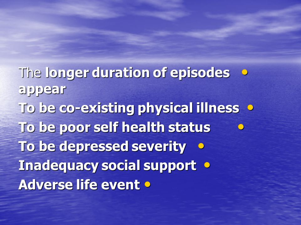 depression Prevelance major depression among older people 1% to 4% and in minor depression 4% to 12%.