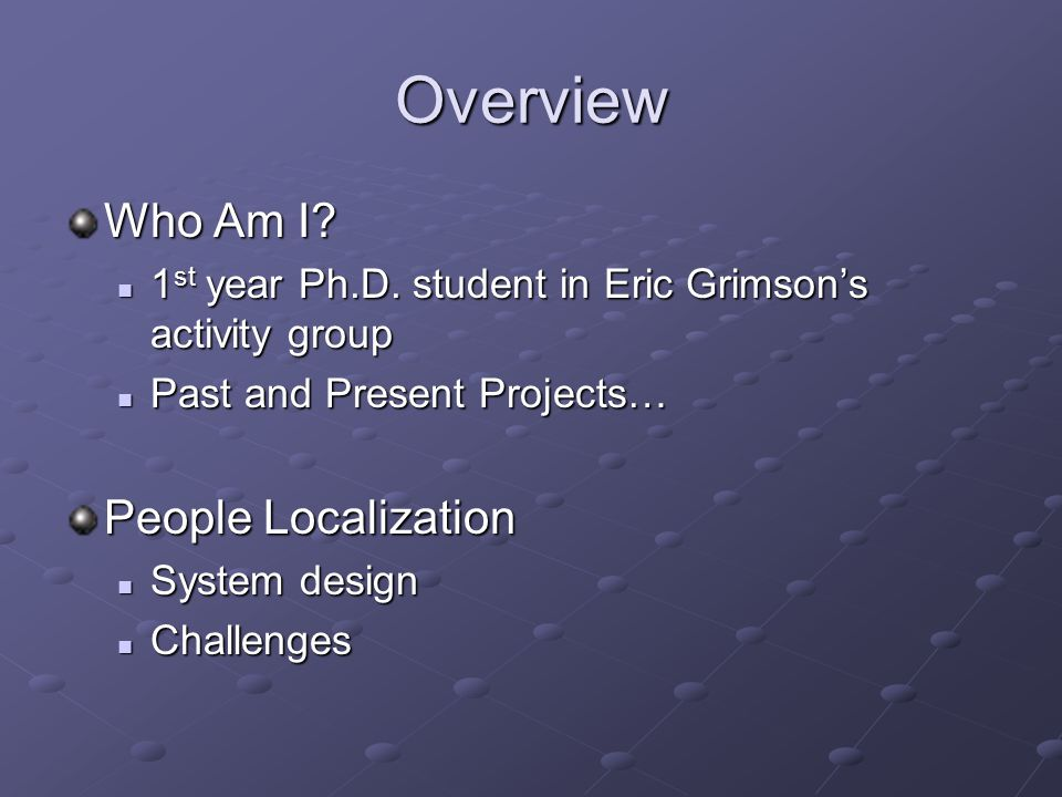 Who Am I: Past and Present Projects: Range Image Registration (B.S. @ OSU)