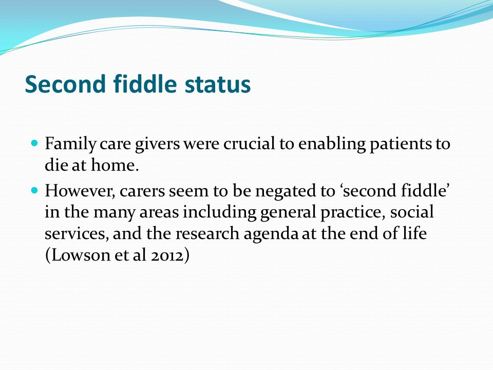 Second fiddle status Family care givers were crucial to enabling patients to die at home.