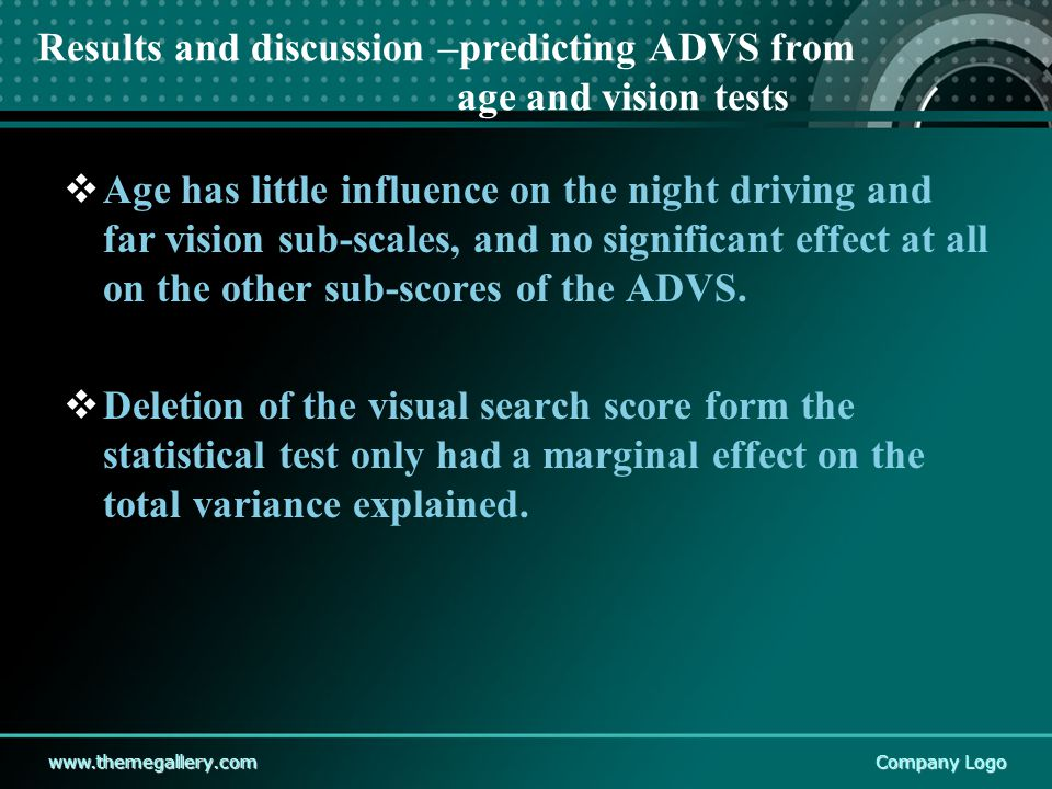 www.themegallery.comCompany Logo Results and discussion –predicting ADVS from age and vision tests  Age has little influence on the night driving and far vision sub-scales, and no significant effect at all on the other sub-scores of the ADVS.