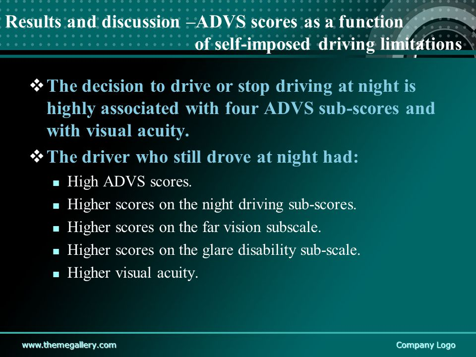 www.themegallery.comCompany Logo Results and discussion –ADVS scores as a function of self-imposed driving limitations  The decision to drive or stop driving at night is highly associated with four ADVS sub-scores and with visual acuity.