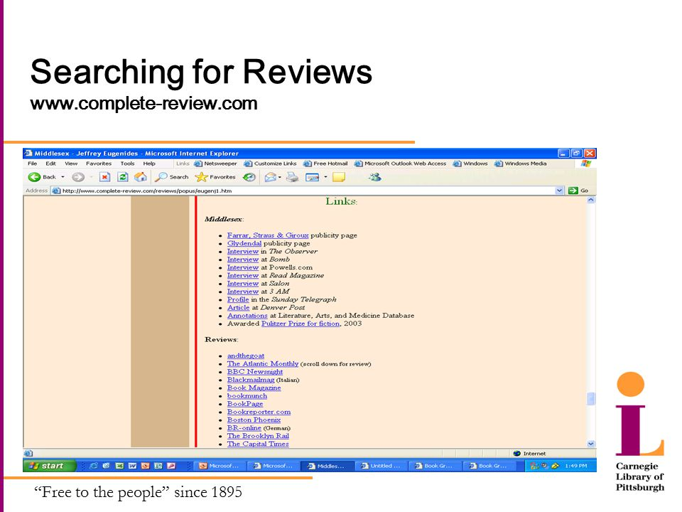 Free to the people since 1895 Searching for Reviews www.complete-review.com
