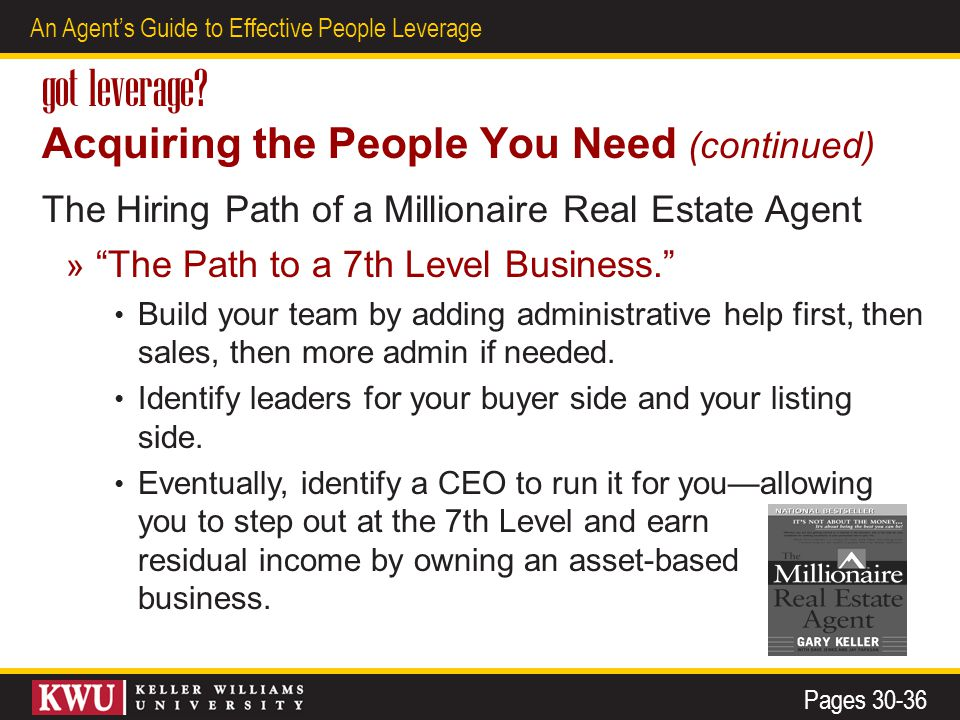 18 An Agent's Guide to Effective People Leverage got leverage? Acquiring the People You Need (continued) The Hiring Path of a Millionaire Real Estate