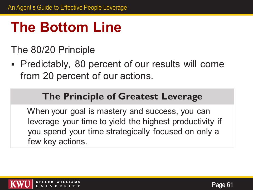 28 An Agent's Guide to Effective People Leverage The Bottom Line The 80/20 Principle  Predictably, 80 percent of our results will come from 20 percent of our actions.