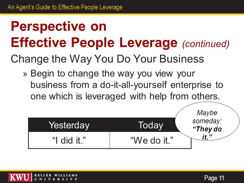 6 An Agent's Guide to Effective People Leverage Perspective on Effective People Leverage (continued) Change the Way You Do Your Business » Begin to ch