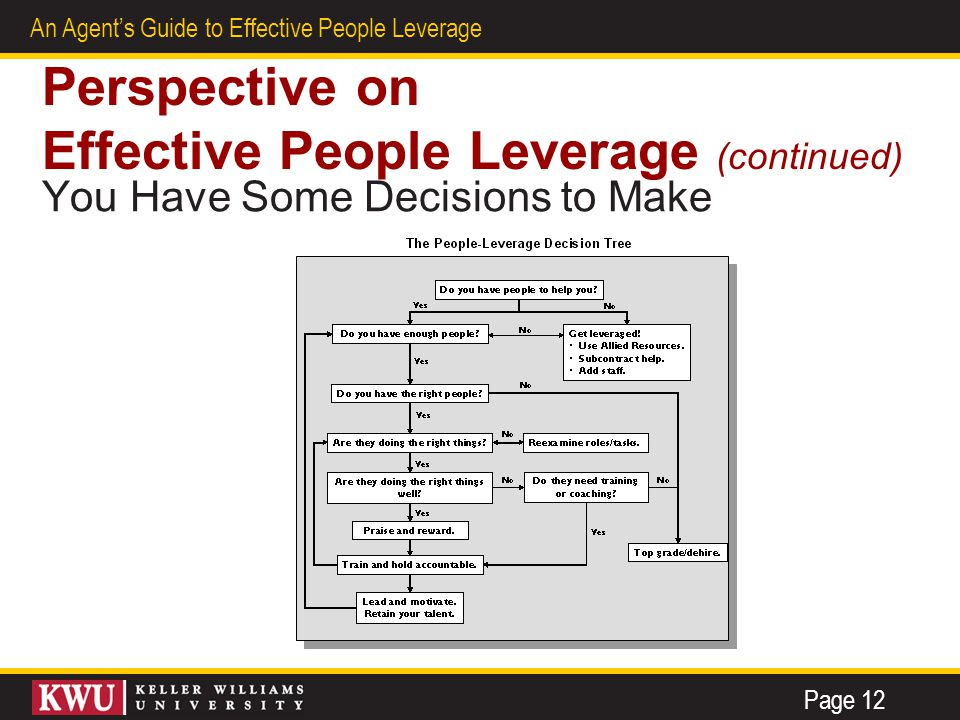 7 An Agent's Guide to Effective People Leverage Perspective on Effective People Leverage (continued) You Have Some Decisions to Make Page 12